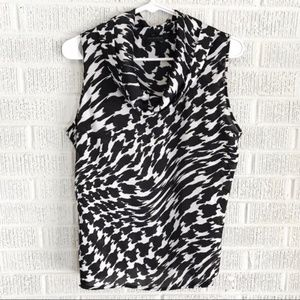 Investments Black White Printed Cowl Neck Blouse 8